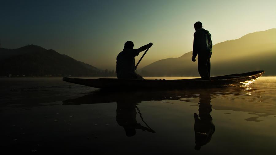 Kashmirians on Dal Lake by PasoLibre