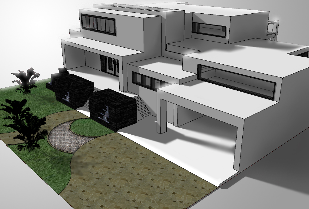 Modern house on google sketchup by irvanqadri on deviantart Drawing modern houses