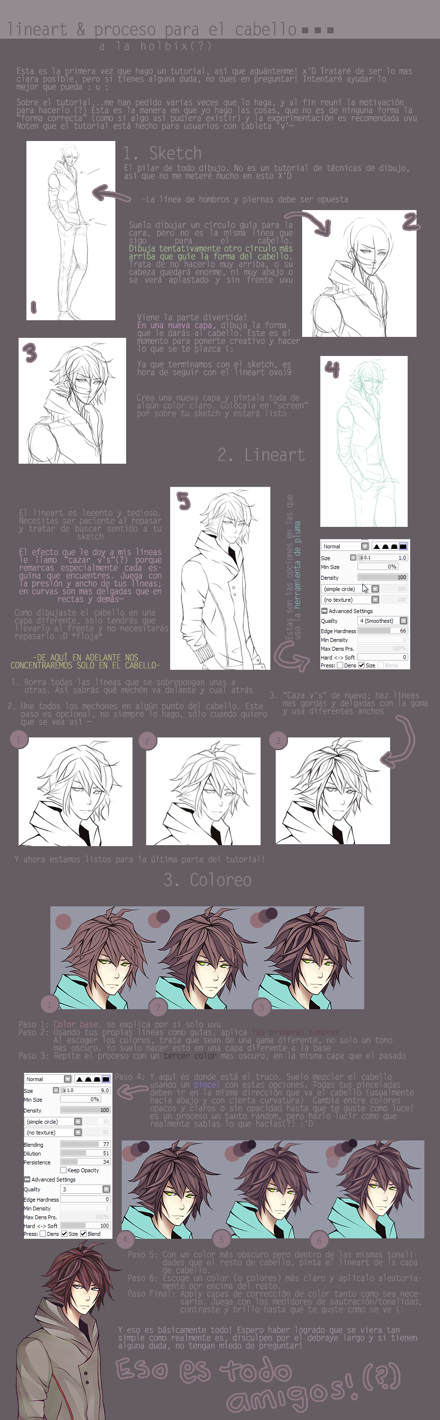 Tutorial: Lineart and Hair process by holbix