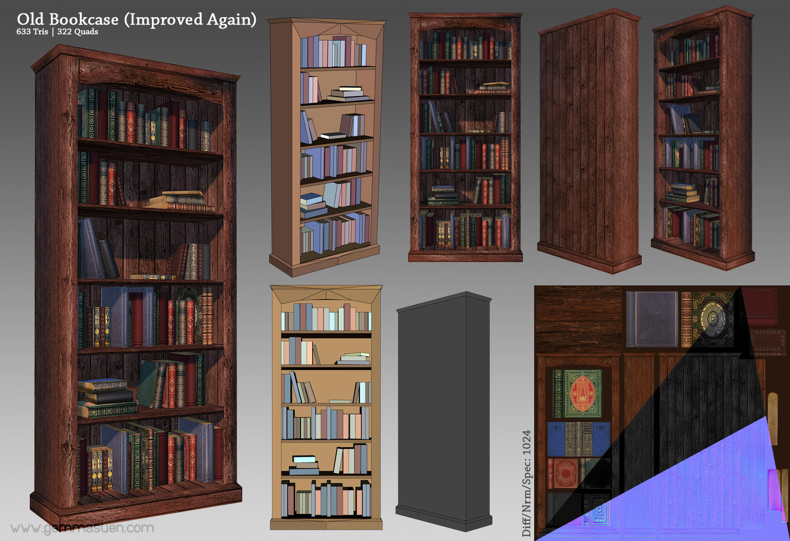 Old Bookcase Render By GemmaSuen On DeviantArt - Old book case