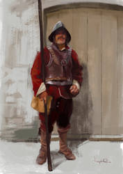 English Civil war pikeman sketch by JosephQiuArt