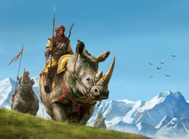 Rhino Rider by JosephQiuArt