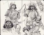 Samurai sketches by JosephQiuArt