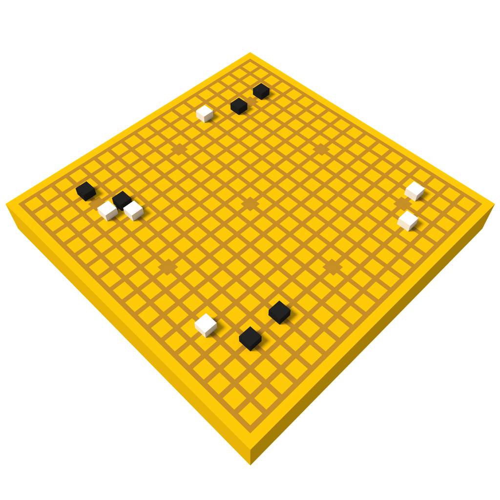 Go board and stones / voxel model