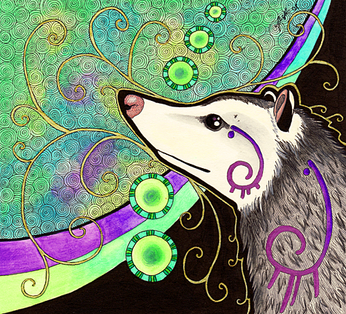 Virginia Opossum as Totem by Ravenari