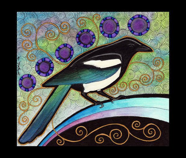 Black Billed Magpie Tattoo
