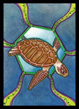 Green Sea Turtle as Totem 02 by Ravenari