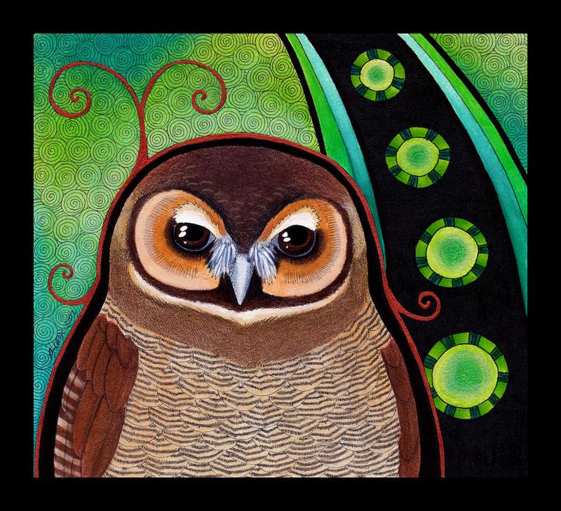 Brown Wood Owl as Totem by Ravenari