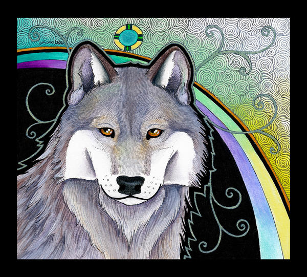 Pale Gray Wolf as Totem by Ravenari