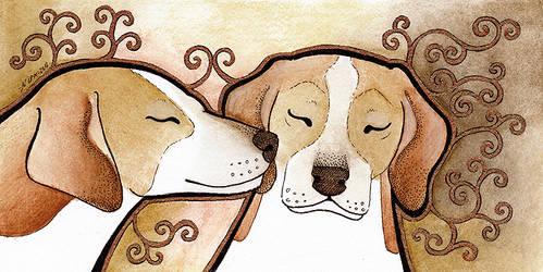 Bronze Foxhounds by Ravenari