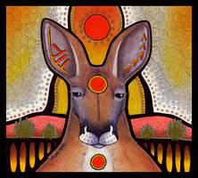 Red Circle Red Kangaroo by Ravenari
