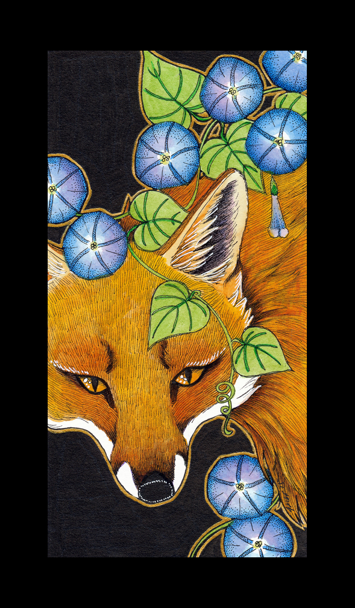 Red Fox and Morning Glory by Ravenari