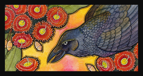 Australian Raven And Corymbia Ficifolia by Ravenari