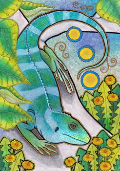 Fiji Iguana and Dandelions