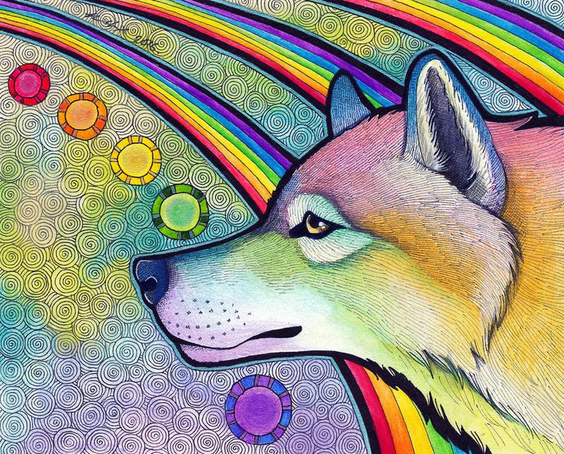 Rainbow Wolf By Ravenari On DeviantArt