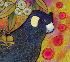 Carnaby's Black Cockatoo and Marri by Ravenari