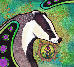 European Badger with Knotwork as Totem