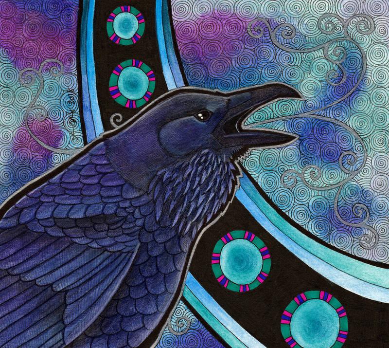 Common Raven as Totem II by Ravenari
