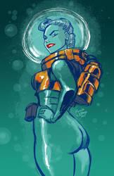 Digital Sketch: Underwater Space Walk by Marcusthevisual