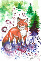 Watercolor fox by Blue-Chara