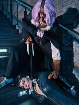 Spandam with his Captive - Nico Robin