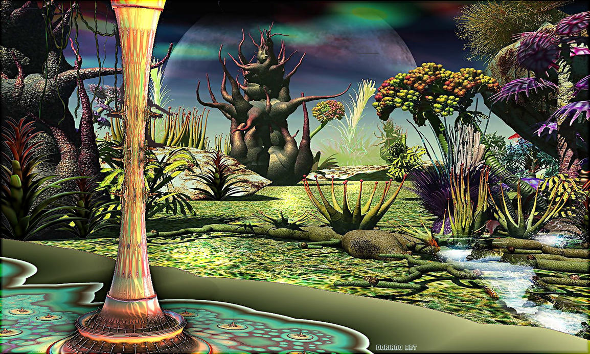 Promenade In A Space Delights Garden By Dorianoart On