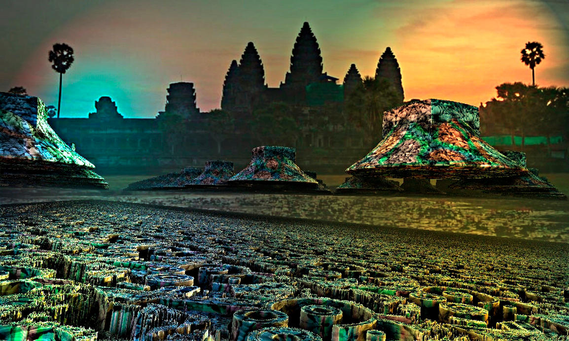 Cambodian Temples at dawn by DorianoArt