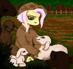 Fluttershy with a lamb