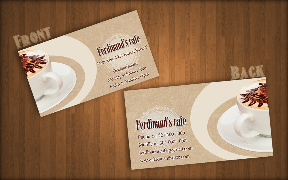 redesigned ferdinands cafe business card by kungfuhamster on