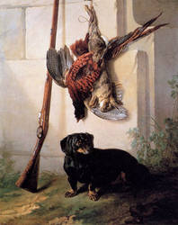 Hound with Gun and Dead Game