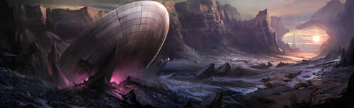 Crashed spaceship by Der-Reiko