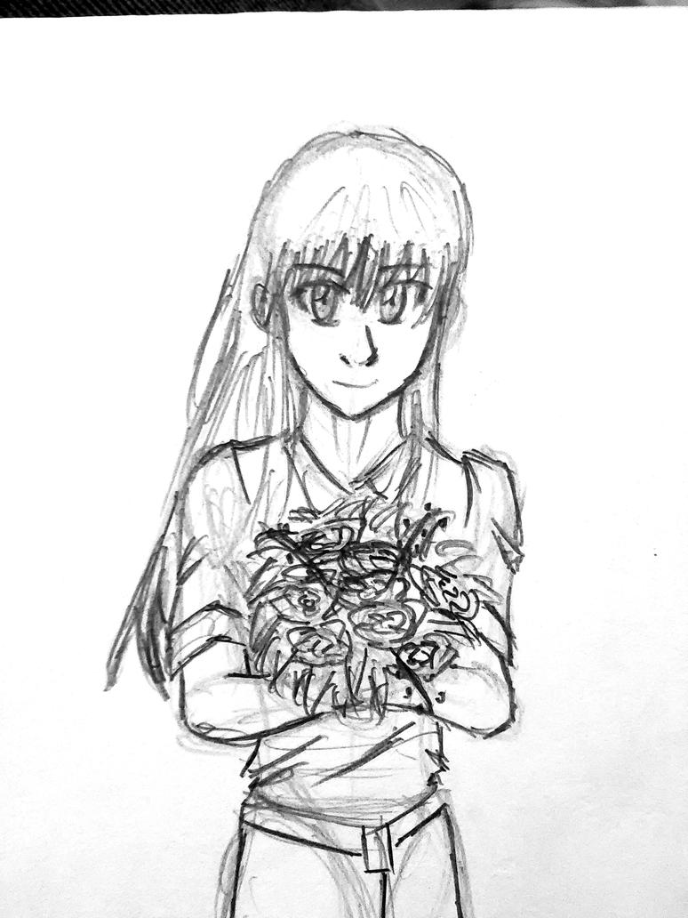 Girl with bouquet by Redahfuhrerking