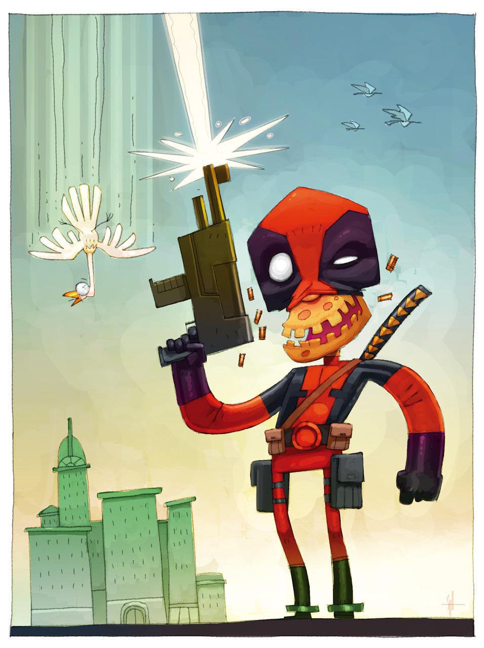 Deadpool kill bird