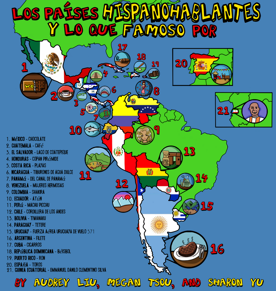 Spanish Speaking Countries Poster Spanish Project by TheSharonYu ...