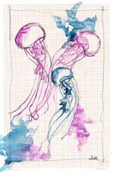 Jellyfish on graph paper II by lenischoen