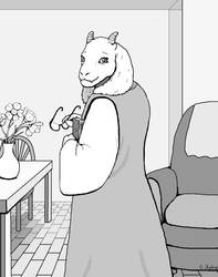 Toriel Grayscale by SabrePanther