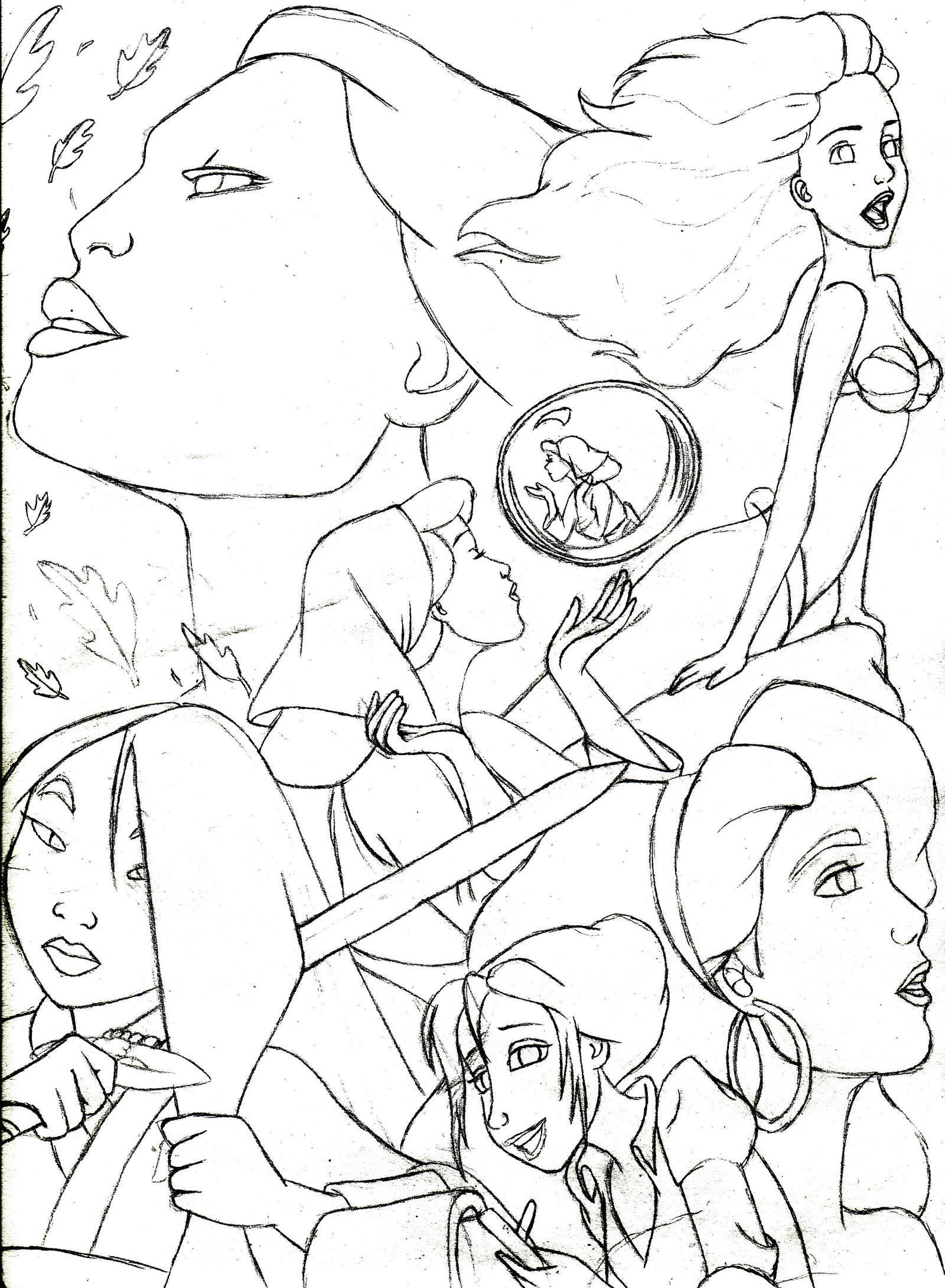 Line Drawing Disney : Disney poster line art by ras dragon on deviantart