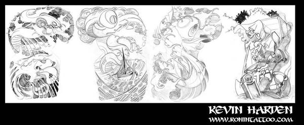 Tattoo gallery by peter guthrie tattoo compi for Half sleeve tattoo sketches