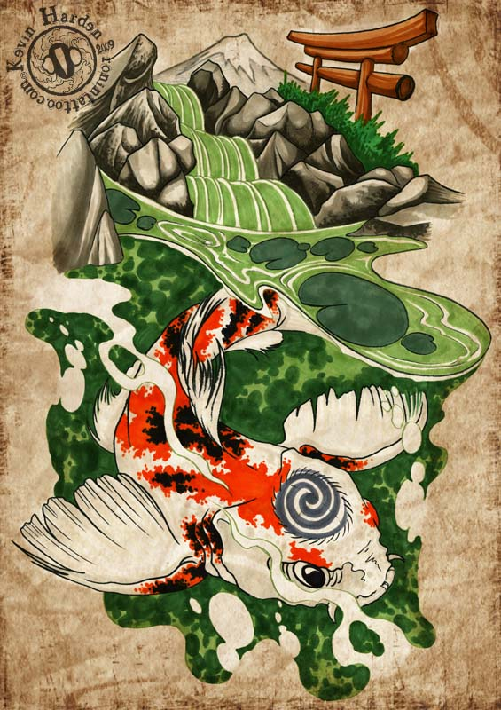 Tattoo design may 2010 for Koi pond tattoo
