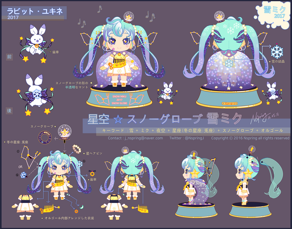 Starry night snow globe SnowMiku 2017 by Nspring by pt0317