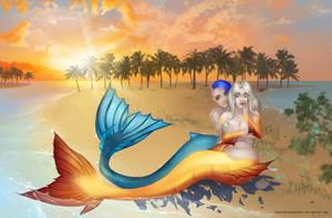 Ana and Camilla: mermaid transformation [frame 5] by SophiaBlackwoodArt