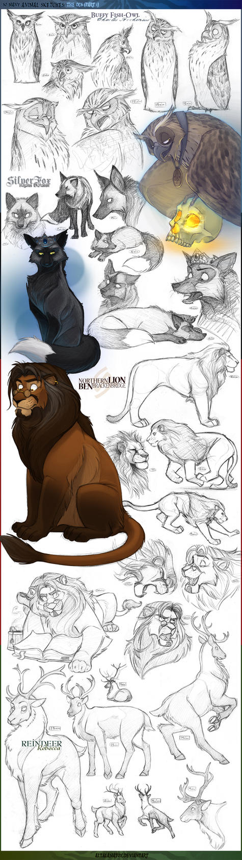 Animal Sketches 3: OCs -Part 1 by Altalamatox