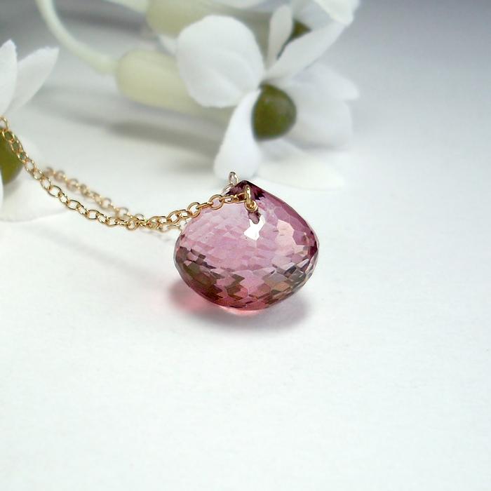 Pink Topaz Necklace by Gweyeni