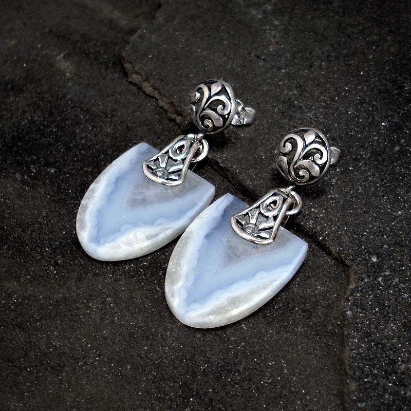 Blue Lace Agate Earrings by Gweyeni