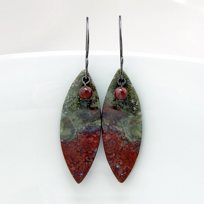 gauges il stone pendulum gemstone dxpq picture plugs ears earrings jasper pierced lobes stretched listing tapers