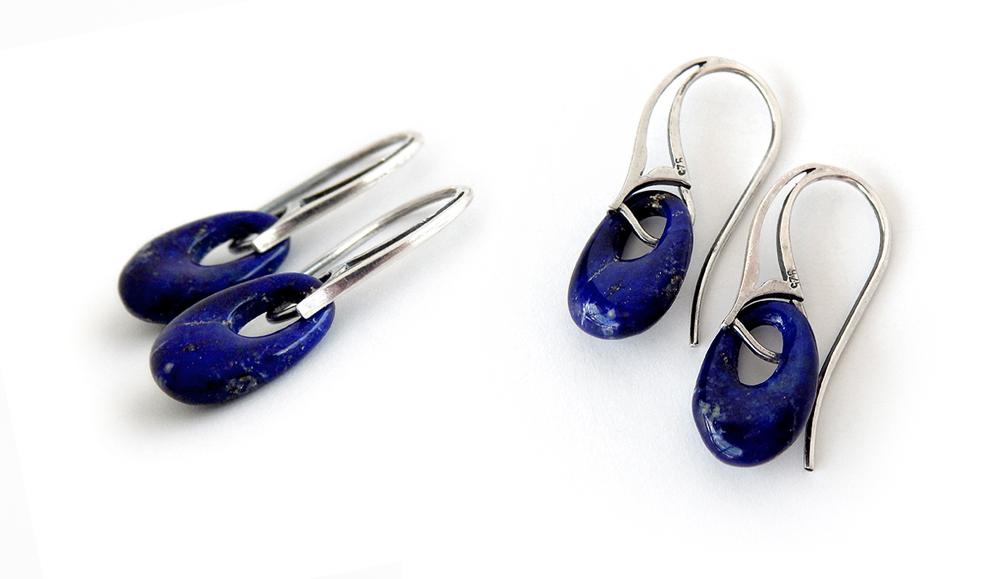 Lapis Ring Earrings by Gweyeni