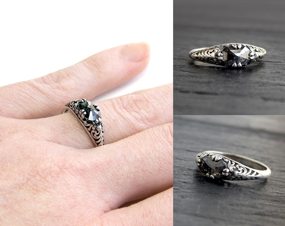 Black Diamond Filigree Ring by Gweyeni
