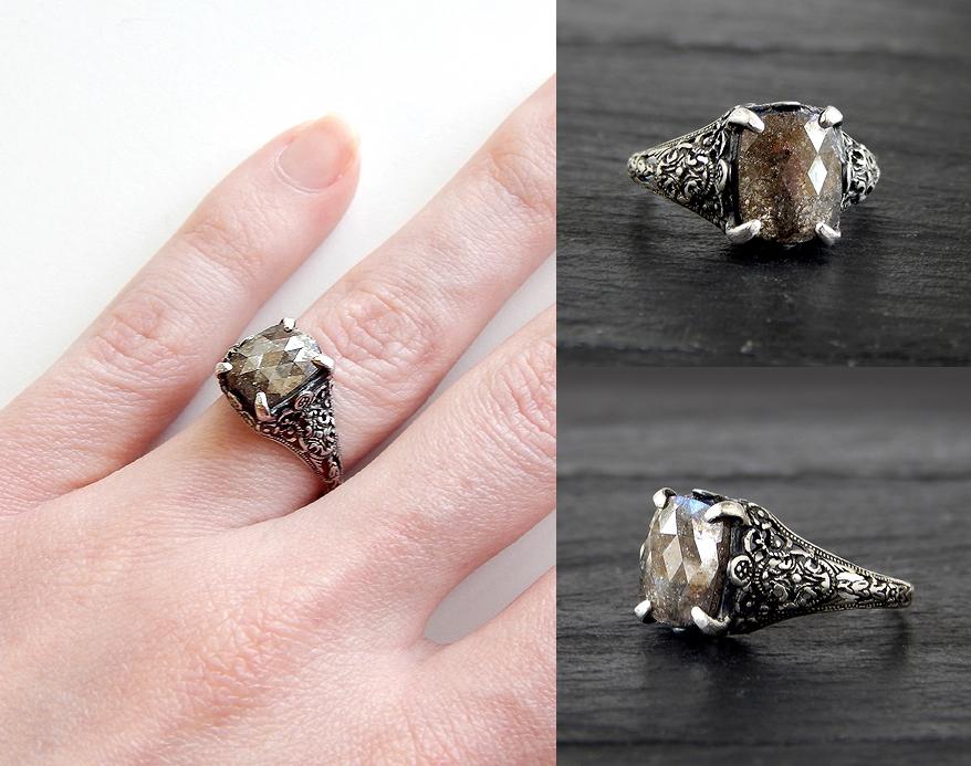 Gothic Brown Diamond Ring by Gweyeni