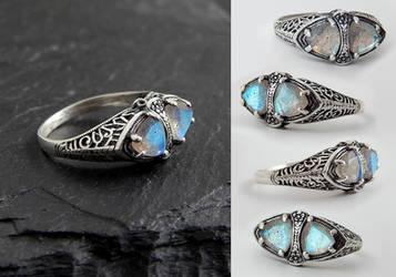 Double Labradorite Filigree Ring by Gweyeni