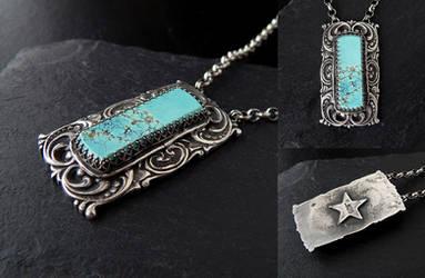 Turquoise Bar Pendant by Gweyeni